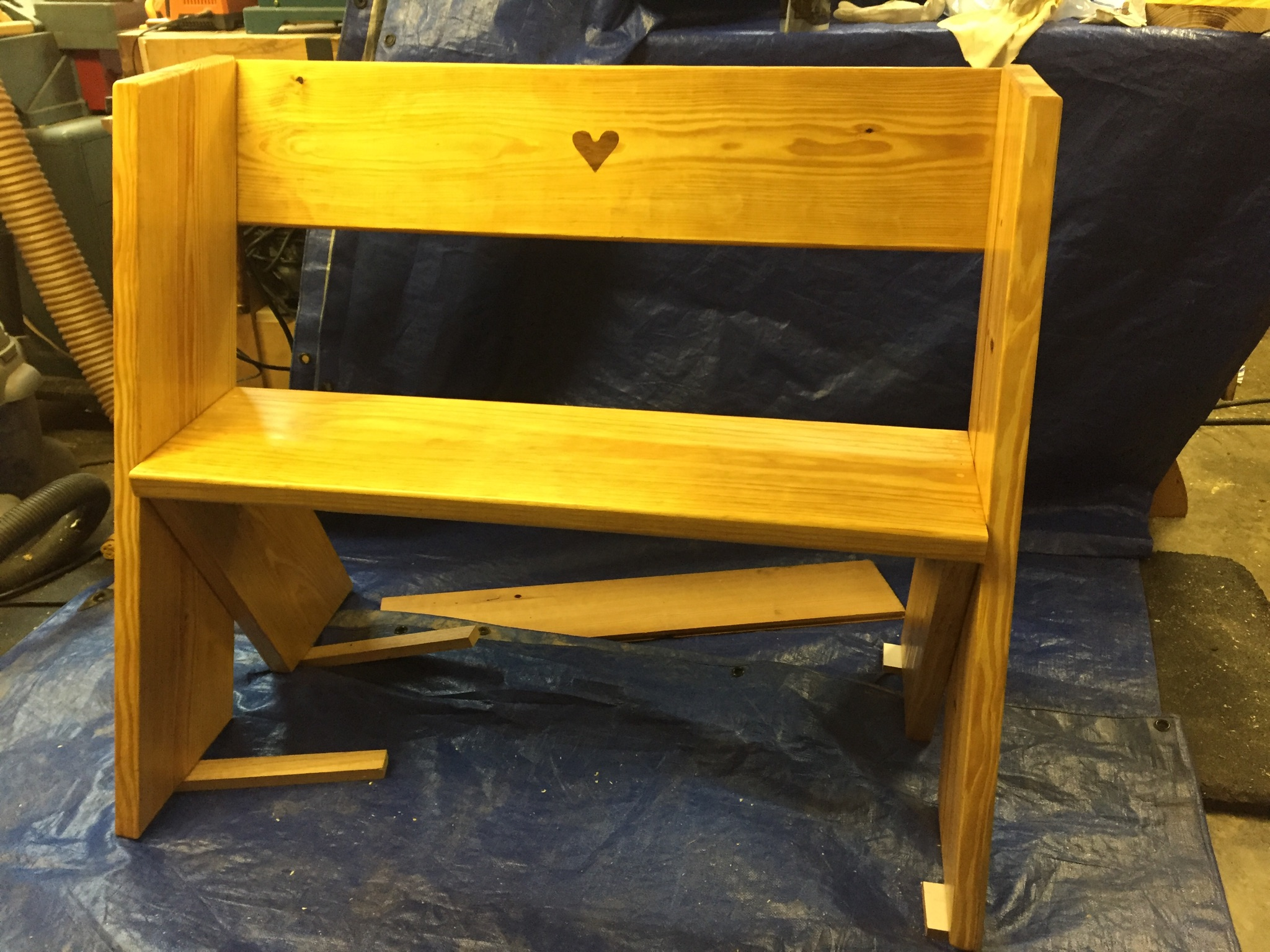Garden Bench-- Handmade and donated by Mike Smith of the Charlotte Woodworker Association.