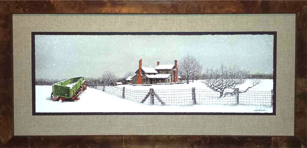 "Bob Timberlake ""First Snow"" Framed Print (Actual Frame not shown in pic) Print Donated by Bob Timberlake Gallery. Framing donated by Trotman's Picture Framing and Gallery."